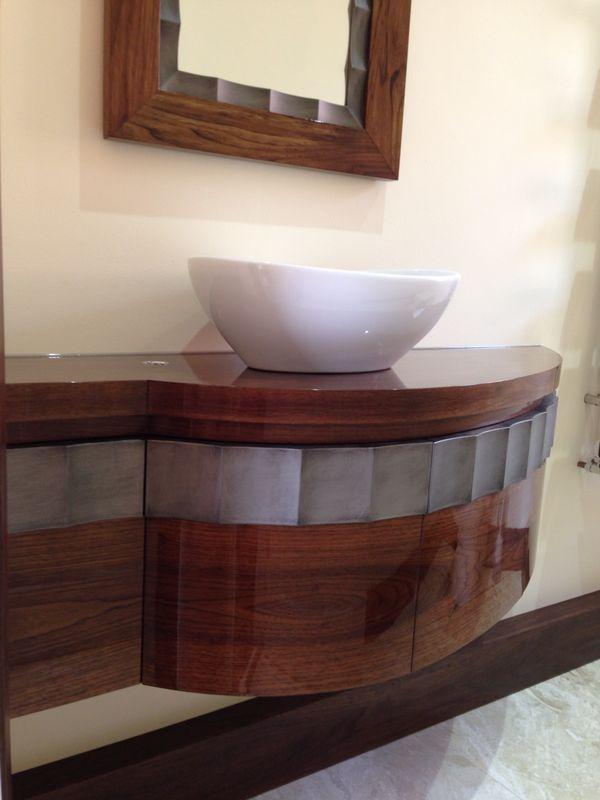 High Gloss American Black Walnut Bathroom Vanity Unit