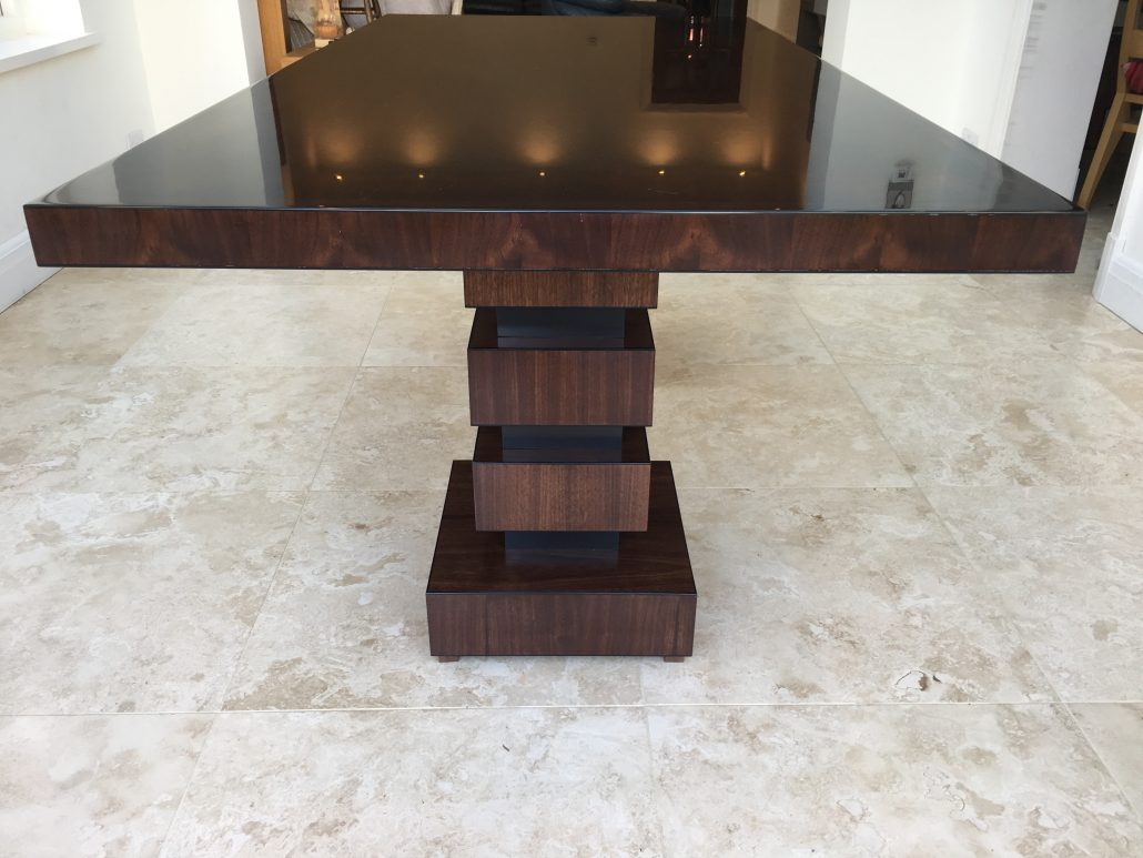 American Black Walnut 6 8 Seater Dining Table With High Gloss