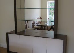 Dining room Sideboard in American Black Oak with pearl finish doors