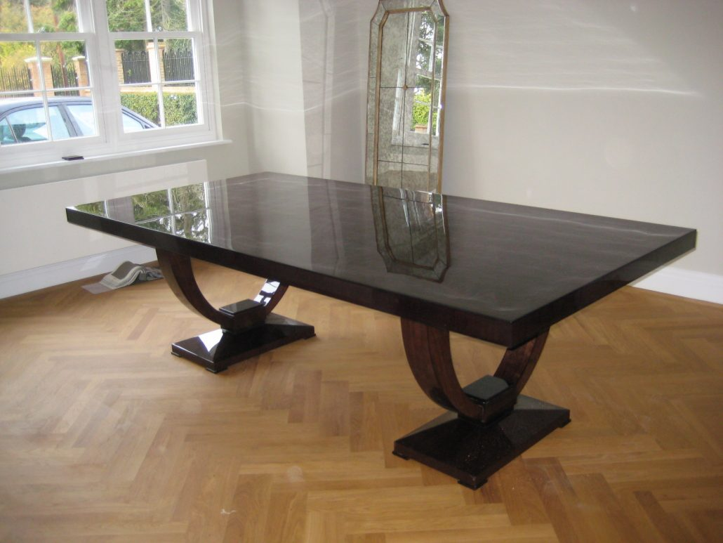 American Black Walnut 10 Seater Dining Table With A Full Gloss Finish Bespoke Kitchens