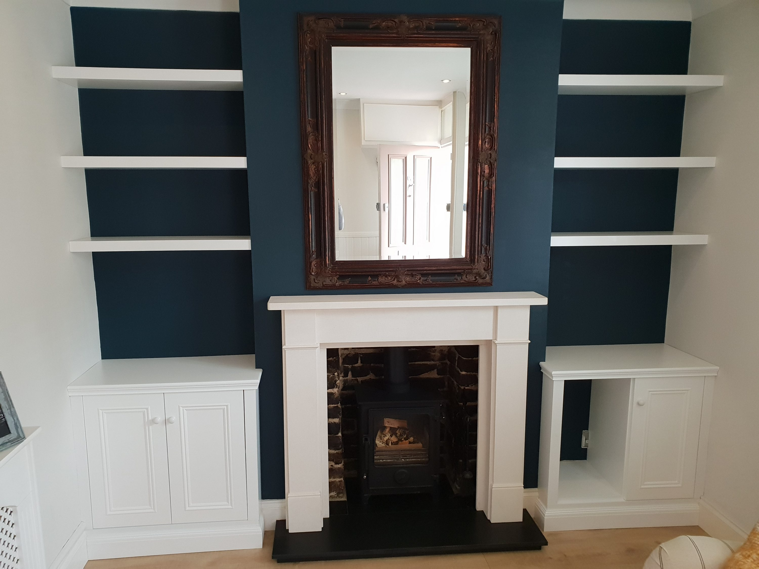 Alcove Shelving With Floor Cupboards Bespoke Kitchens